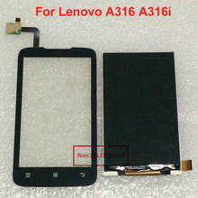 100% Good Working Black Touch Screen Digitizer + LCD Display For Lenovo A316 A316i Mobile Replacement Free shipping