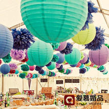 Hot Sale 12 Inch 30cm 28 Colors Beautiful Chinese Paper Lanterns For Birthday Party and Wedding Decoration Hanging Paper Ball