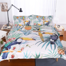 3 Pcs Toucan Duvet Cover With Pillowcase Tropical Plant Pineapple Bedding Set Soft Flower Quilt Cover Us And Au Size Wholesale(China)