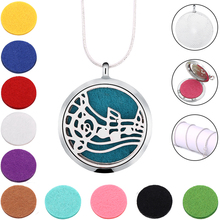 Note Silver Color Magnetic 316L Stainless Steel Essential Oil Diffuser Perfume Locket Necklace Pendant Jewelry(China)