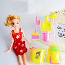 Freeshipping 6Pcs/set Girl House Dolls Furniture Cleaning Kit Set Home Furnishing Funny Vacuum Cleaner Mop Broom Tools