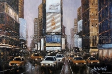 hand painted New York Times Square Manhattan Taxis decoration Oil Painting Free Shipping free shipping High quality