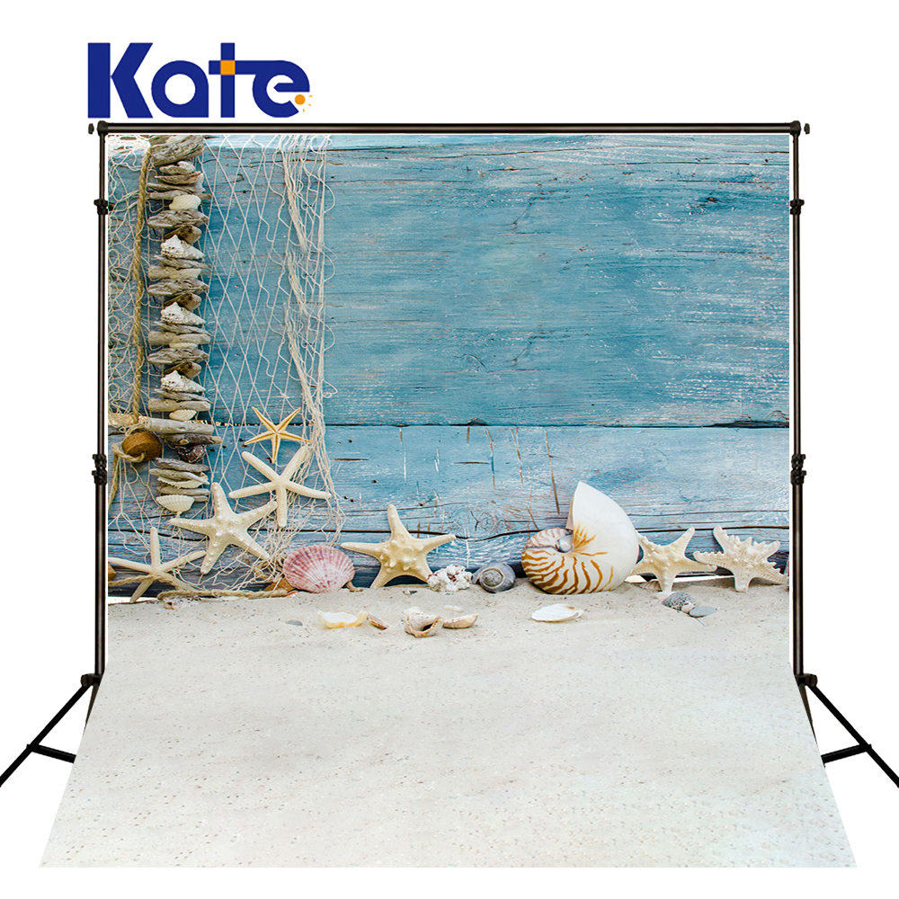 Kate Retro Blue Wood Backgrounds For Photo Studio Children Photo Backdrops With Starfish Shell Beach Photography Backdrop Studio<br>