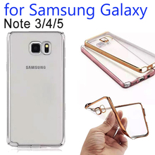 Phone Case Cover For SAMSUNG Galaxy NOTE 3 4 5 Thin Clear Plating Electroplating TPU Soft Case For Galaxy N9000 N9100 N9200