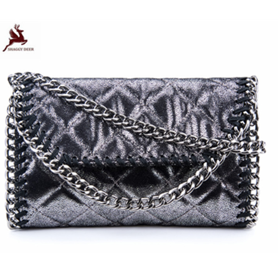 Shaggy Deer New Quilted Faux Leather PVC Clamshell Small Chain Flap Bag Lady Crossbody Pocket Shoulder Bag<br>