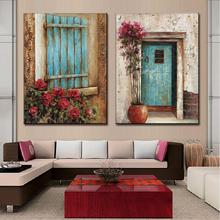 2Pcs/Set Still life Oil Painting Flower Out Of The Windows living room wall paintings QH0002