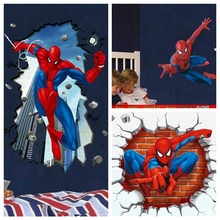 Christmas Marvel Wall Sticker Spiderman Beak Through The Wall Decals Superheros Wall Art Stickers For Kids Room Decor Xmas Gifts(China)