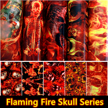 Free Shipping !!Flaming Fire Skull Hydrographic Fillm Water Transfer Printing Film Aqua Film 0.5M Wide Car Decoration Material