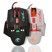 HXSJ X200 USB Wired Competitive Gaming Mouse Macro Definition Programming Game Mice Adjustable 4000DPI 7 Buttons LED Lighting