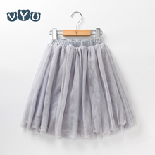 VYU New Arrival Children's Clothing Child Princess Little Girls Casual Tutu Puff Mid-Calf Long Kids Skirt Age 2-10, Beige/ Grey