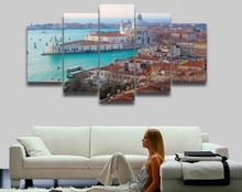 5 Panels Printed Mediterranean Sea picture seascape canvas painting landscape modular wall decor Canvas art Print poster artwork
