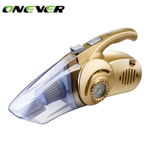 Onever 4 in 1 Wet/Dry Portable Car Vacuum Cleaner 12V 120W Tire Inflator Tire Pressure Gauge & LED Light Tire inflatable Pump(China)