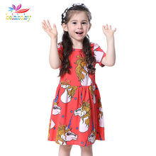 Belababy new Girl Dress summer fashion kids unicorns frock dresses for baby girls dress cotton children toddler vestido clothes