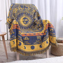 Twelve constellations knitted Blanket Cotton Jacquard Sofa Cover Blankets  Vintage Home Decor Tapestry Table Cloth 180x230cm