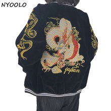 NYOOLO design Best quality streetwear baseball uniform dragon embroidered Corduroy zipper jacket women/men clothing outerwear
