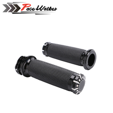 "1Pair Motorcycle 1""25mm Black Aluminum CNC Deep Cut Handle Bar Hand Grips For Harley Sportster Touring Dyna Softail"