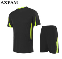 Adult training short sleeve 2017 jersey breathable runningsets sportswear soccer team football kits adult DIY logo good quality(China)