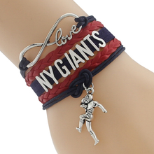 Infinity Love NY GIANTS football Team Bracelet blue red Customized Wristband friendship Bracelets(China)