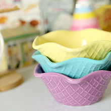 Lovely Color Leaf Ceramic Bowl Ice Cream Candy Bowl Fashion Dessert Containers Children Favors Party Supplies 2pcs/lot SH657