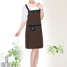 [WIT]Coffee Pvc Waterproof Adjustable Apron Uniform With 2 Pockets Hairdresser Kit Salon Hair Tool Chef Waiter Kitchen Cook Tool(China)