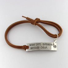 17CM Fashion Jewelry Brown Leather Work Unit Expensive Becomes Cheap Inspirational Bracelet(China)