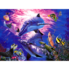 30*40cm 5D Sea Ocean Cross Stitch DIY Diamond Painting Dolphin Fish in Undersea World Home Decoration DIY Embroidery Diamonds