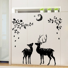 Christmas Wall Decoration Stickers Moonless Deer Silhouettes Wall Stickers Home Decoration Bathroom Entrance Christmas Stickers