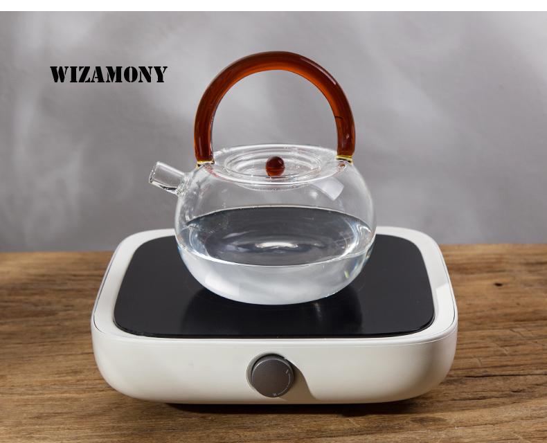 varios colores resistentes al calor Teteras de cristal de borosilicato Wizamony aptas para t/é amarillo claro 780 ml