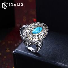High Grade Marquise Turquoises Stone Vintage Rings for Women White Gold/Black Gold Color Nickle Free Fashion Turkish Ring Jewels