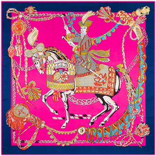 Twill Silk Euro Brand Character Horse King Of Swords Chain 130cm*130cm Square Scarf Femal Wrap Headband Hijab