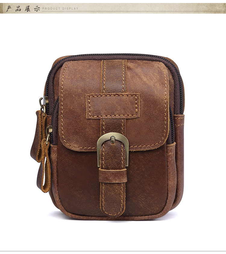 a3cf3a17f7 NBSAMENG Genuine Leather Vintage Men Small Travel Waist Bags Mens ...