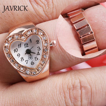 JAVRICK 2017 Popular Creative Lady Girl Copper Tone Heart Shape Housing Elastic Band Finger Ring Watch For Women
