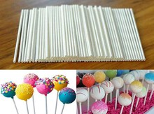 100 pcs Pop Sucker Sticks Chocolate Cake Lollipop Lolly Candy Making Mould White(China)