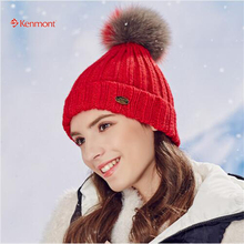 Kenmont Autumn Winter Knitted Beanies Hat Ladies Alpaca Fox Ball Ski Cap 1710