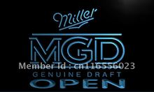 LA056- Miller MGD Beer OPEN Bar LED Neon Light Sign home decor crafts(China)
