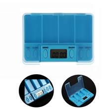 New Blue Square Pill Cases Intelligent Timing Daily Reminder Alarm 4 Day Medicine Box Tablet Storage Container with LED lights