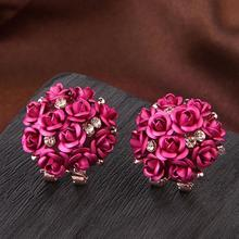 2017 Fashion Gorgeous Multicolor Crystal Flower Stud Earrings For Womens Party Earring Delicate(China)