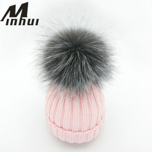 Minhui New Winter Hats for Kids Girls Skullies Beanies Real Silver Fox Fur Pom Poms Hat Girls Caps Bonnet Thick Cap(China)