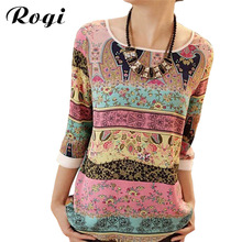 Rogi Summer Fashion 2017 Chiffon Blouses Women Casual Different Pattern Print Tunic Shirts Jumper Tops Blusas Camisas Mujer