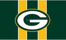 Green Bay Packers logo Flag 3x5FT NFL banner150X90CM 100D Polyester brass grommets custom flag, Free Shipping(China)