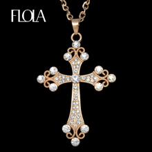 FLOLA Hip Hop Catholic Big Cross Pendant Necklace Gold Chain Rhinestone Long Necklace Pendants for Women Jewelry gifts nkeh77(China)