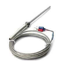 Steel Temperature Probe Pt100 RTD Sensor Cable 2M 98 mm 3 Wires -50 ~ 400 Celsius
