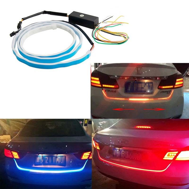 120CM Colorful Flow Type DRL Trunk Box+Side Turn Signals Rear lights LEDs Strips Automobile Braking light day light A-041<br>