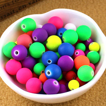 Mixed 8mm Rubber beads Fluorescence Neon Round Ball Loose Acrylic Spacer Beads for jewelry making ACB03