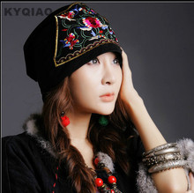KYQIAO 2017 summer hats bandanas original design embroidery flowers vintage cap ethnic hat for women(China)