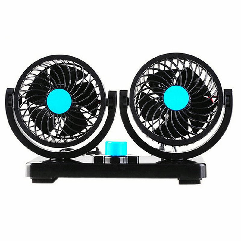 12V 360 Degree Rotation Adjustable Strong Wind Dual Head Car Cooling Air Fan with Adhesive 2 Speed Powerful Super Quite(China)
