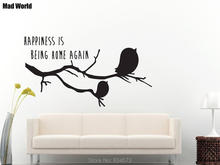 Tree Birds on the tree Happiness Is Being Wall Art Stickers Wall Decal Home DIY Decoration Removable Room Decor Wall Stickers()