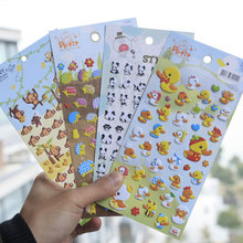 1 pcs Yellow ducklings and hedgehog stickers DIY album adhesive paper Scrapbook Notebook decoration sticker stationery kids gift