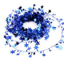 1PC 5m Christmas Tree Hanging Star Pine Garland Christmas Decoration Ornament 5 Colors(China)