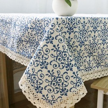 Retro Blue and White Table Cloth with Lace Cotton Print Chinese Style  Rectangular Dinning Tablecloths Cover Home Decor ZB-9